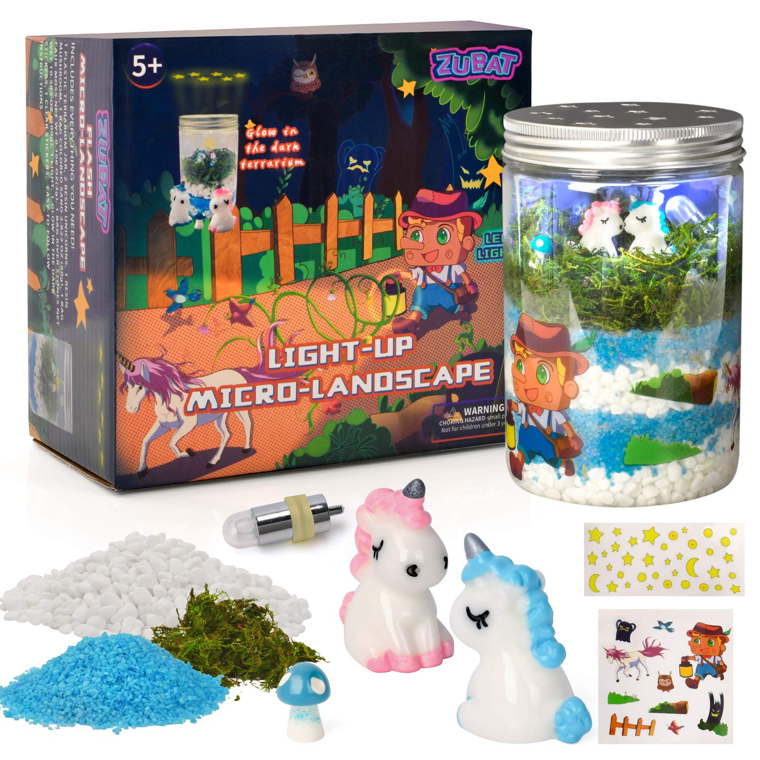 ZUBAT Unicorn Terrarium Kit with Light Up, DIY Unicorn Micro Landscape with Flash Craft Set in Jar, Educational Garden Discovery Art for Age 5+ Kids