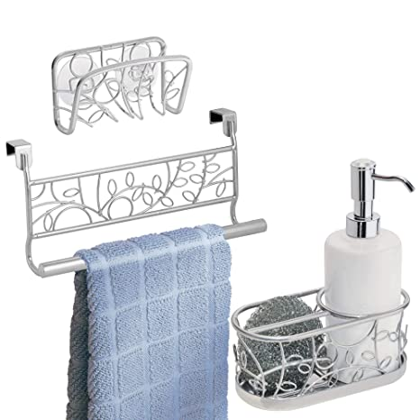 Mdesign Decorative Metal Kitchen Sink Countertop Combo Includes Dish Soap Pump With Scrubber Caddy In Sink Suction Soap Sponge Holder Over