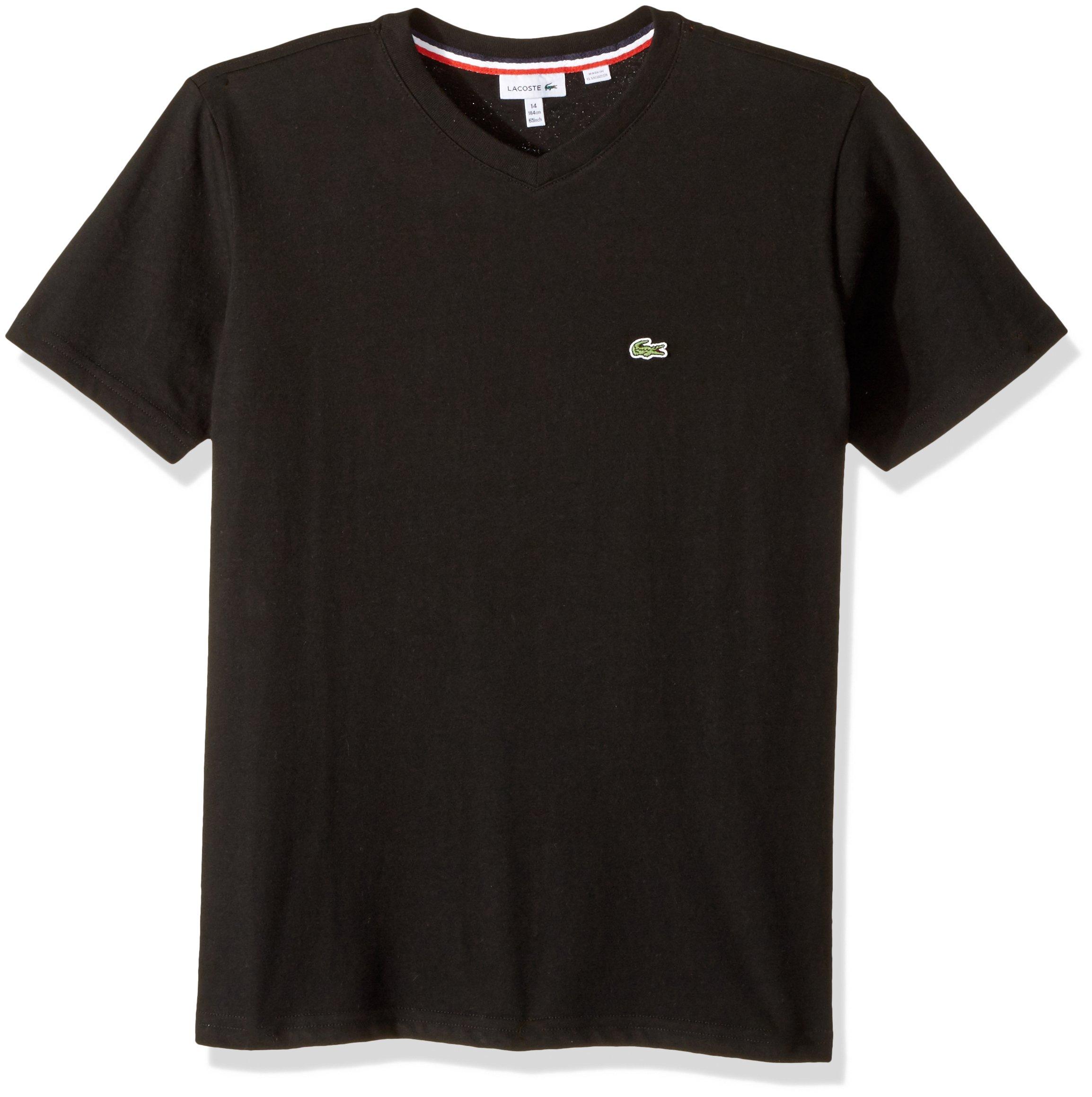 Lacoste Boys' Big' V-Neck Cotton T-Shirt, Black, 8Y