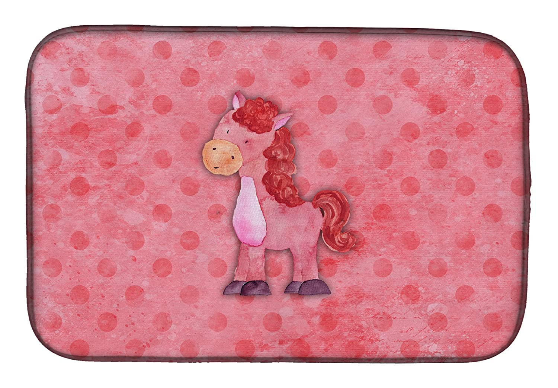 Caroline 's Treasures bb7379ddm Polkadot Horse水彩ディッシュ乾燥マット、14