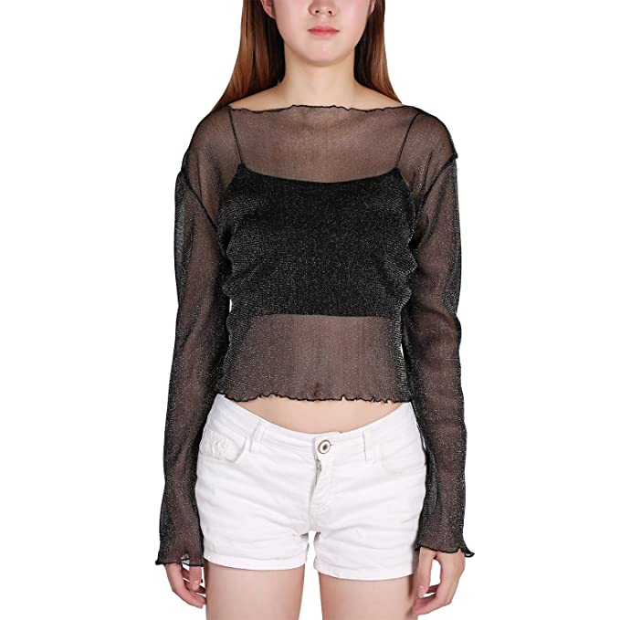 Petalum Damen Shirt Langarm Spitze Bluse Durchsichtig Transparent Wetlook  Clubwear Partywear Streetwear Top Oberteil (Schwarz 5638ed3861