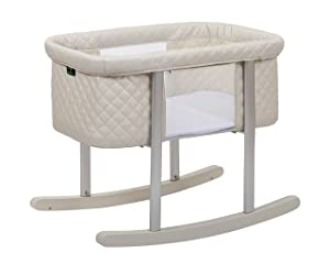 Baby Bassinet Cradle Includes Gentle Rocking Feature, Great for Newborns and Infants Safe Mattress Includes Wheels for Easy Movement High End Washable Fabric Lightweight