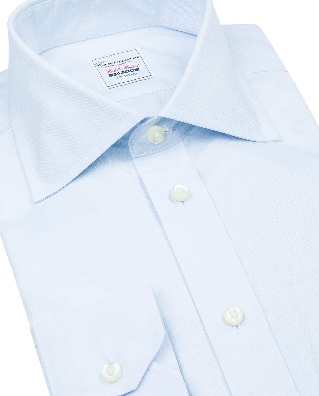 Collo Semi Francese Manica Lunga vestibilit/à Extra Slim Camicia Non Iron Madrid Azzurra