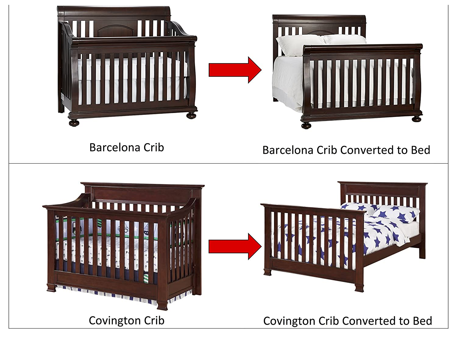Solid Wood Full Size Conversion Kit Bed Rails For Baby