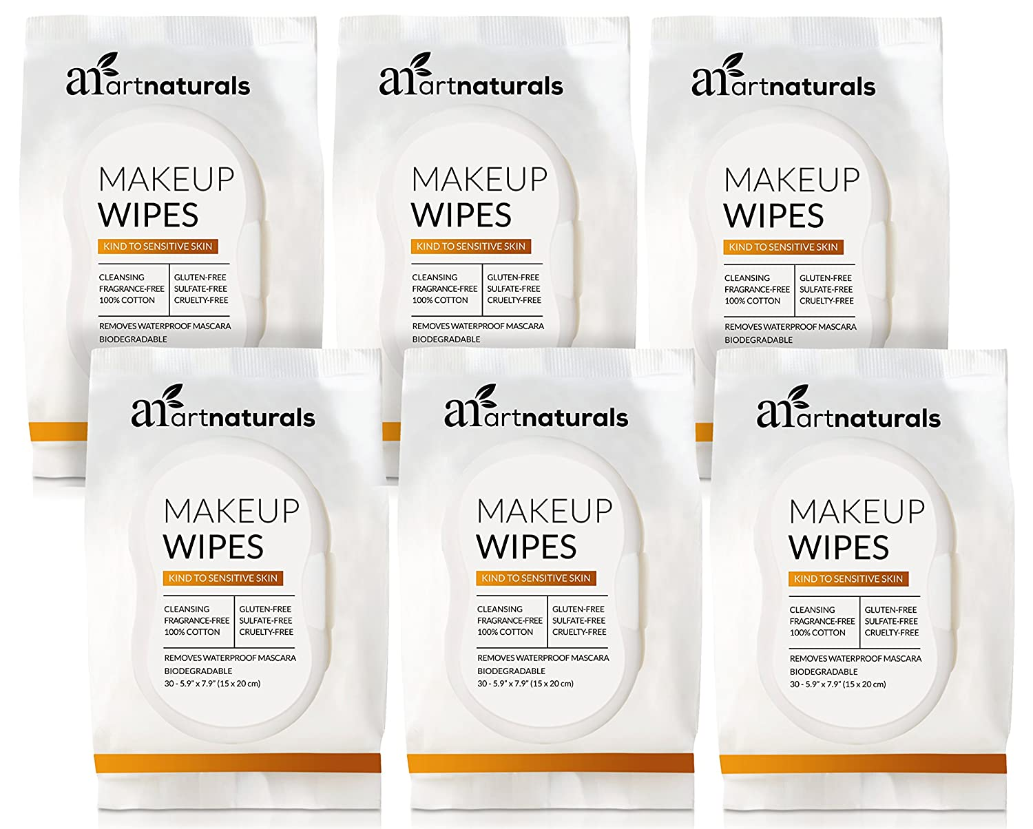 ArtNaturals Makeup Remover Cleansing Wipes-Towelettes – (30 Count x 6 Piece Set) – Biodegradable Facial Wipes Remove All Makeup Including Waterproof Mascara – for Sensitive Face and Skin