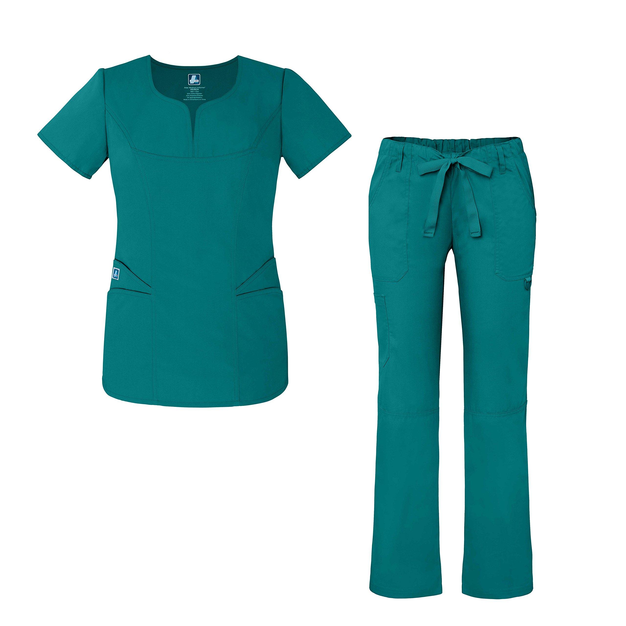 7651327f60e Adar Universal Women's Scrub Set - Fashion Scrub Top and Multi-Pocket Scrub  Pants - 903 - Teal Blue - 4X