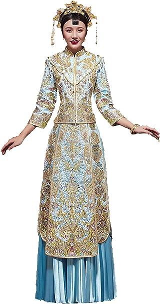 HangErFeng - Falda de Cola de Novia China Bordada, Color Dorado