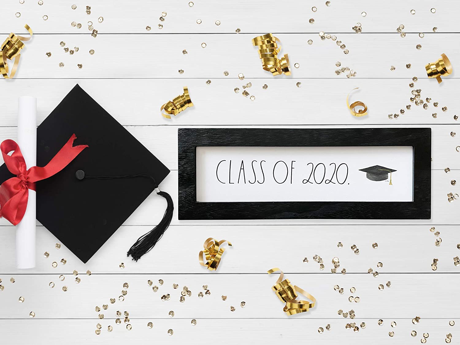 Graduation 2020 Desk Plaque – Home, Office Decor - Cute Inspirational Messages, Quotes - Distressed Wood Frame - Rustic, Country, Industrial, Farmhouse, Wooden, Vintage Design Style – by Rae Dunn: Everything Else