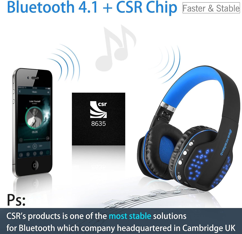 Auriculares Bluetooth inalámbricos, ultraligeros, con luz led ...