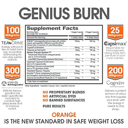 amazon com genius fat burner thermogenic weight loss nootropic focus supplement natural metabolism energy booster for men women thyroid support