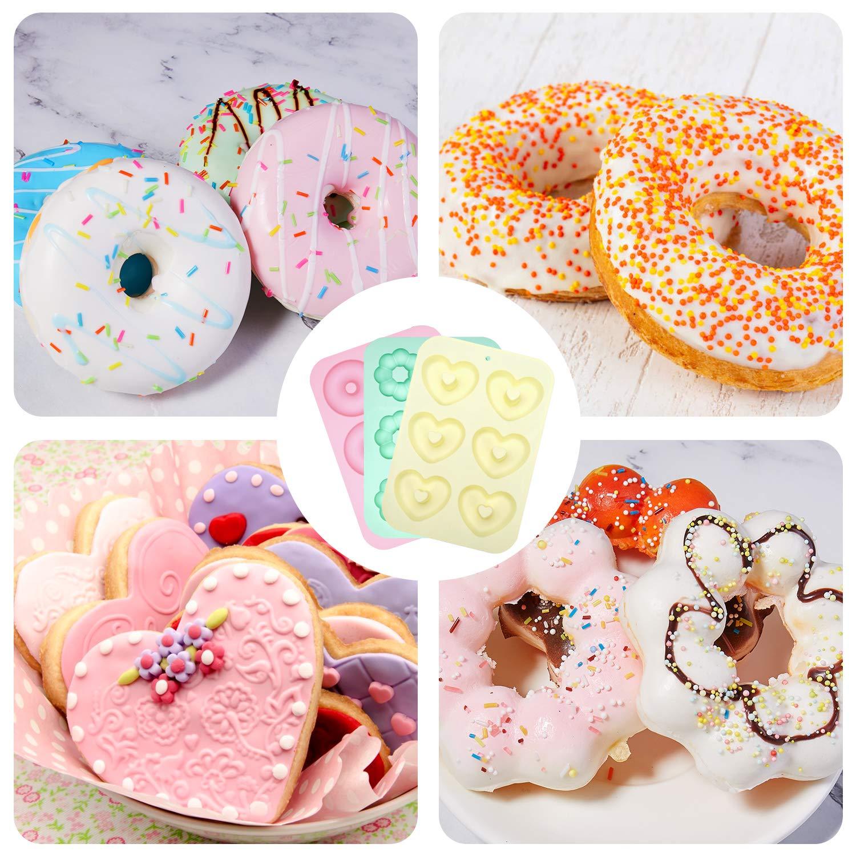 Senbowe Silicone Donuts Baking Mold- Set of 4 | Silicone Cake Baking Molds,| Round Doughnut-shape (6) | Flower-shape(6)| Snowflake-shape (6)|Non Stick Baking Molds Set | Oven & Dishwasher Safe by senbowe (Image #7)