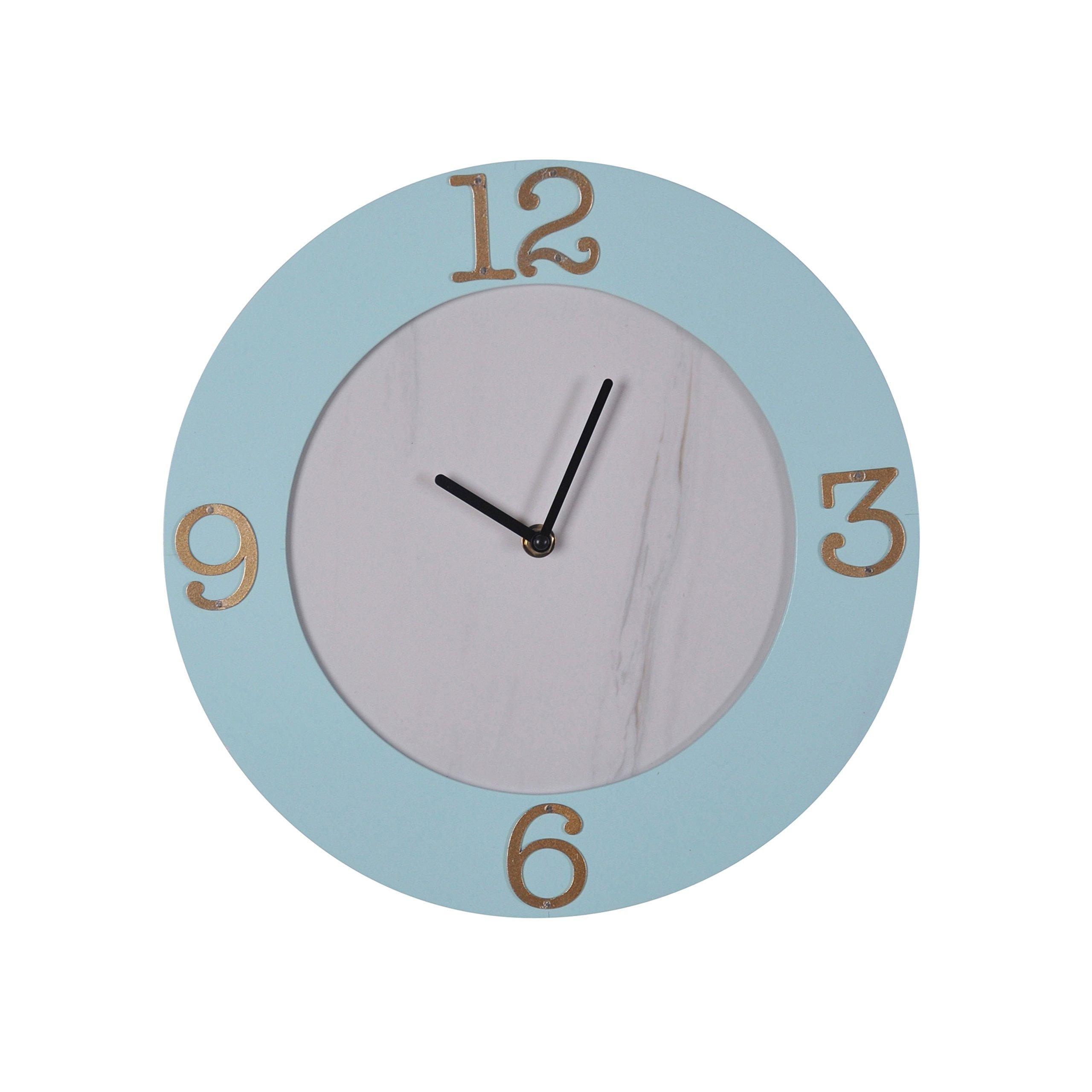 Sagebrook Home 12774 Wood Wall Clock Window Box Mdf, Pu Board, 12 x 12 x 1.25 Inches, Light Blue