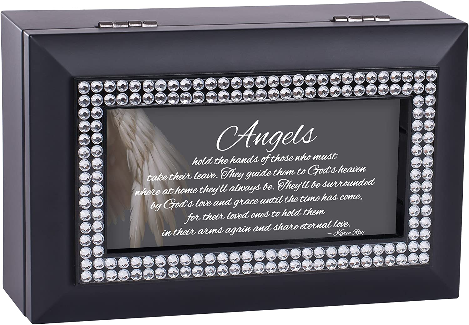 Cottage Garden Angels Hold Hands Matte Black Jewelry Music Box Plays Amazing Grace