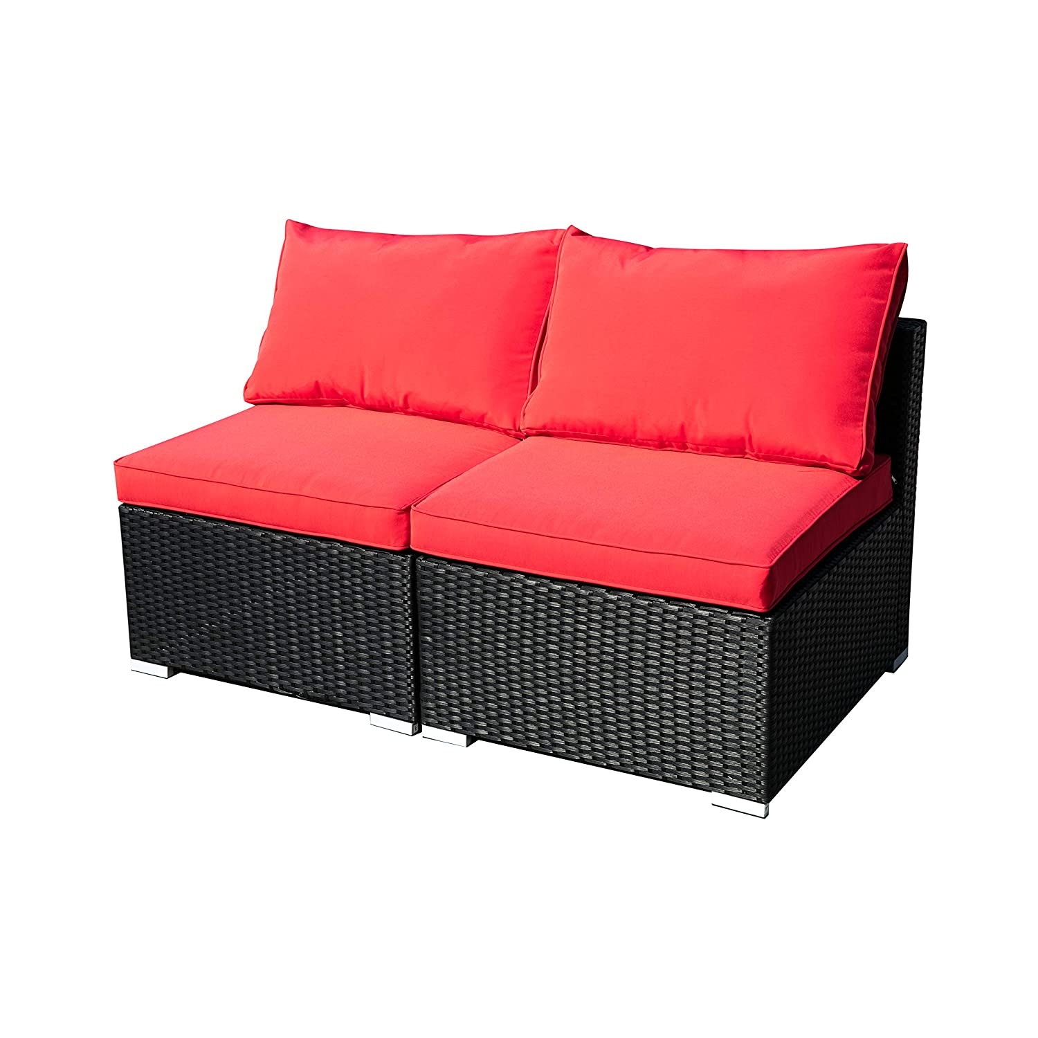 Leisurelife 2 Pcs Outdoor Patio Furniture Set Red, Rattan Sofa with Cushion and Clips, PE
