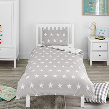official photos 0edac b49db Bloomsbury Mill - Grey & White Stars - Kids Bedding Set -  Junior/Toddler/Cot Bed Duvet Cover and Pillowcase
