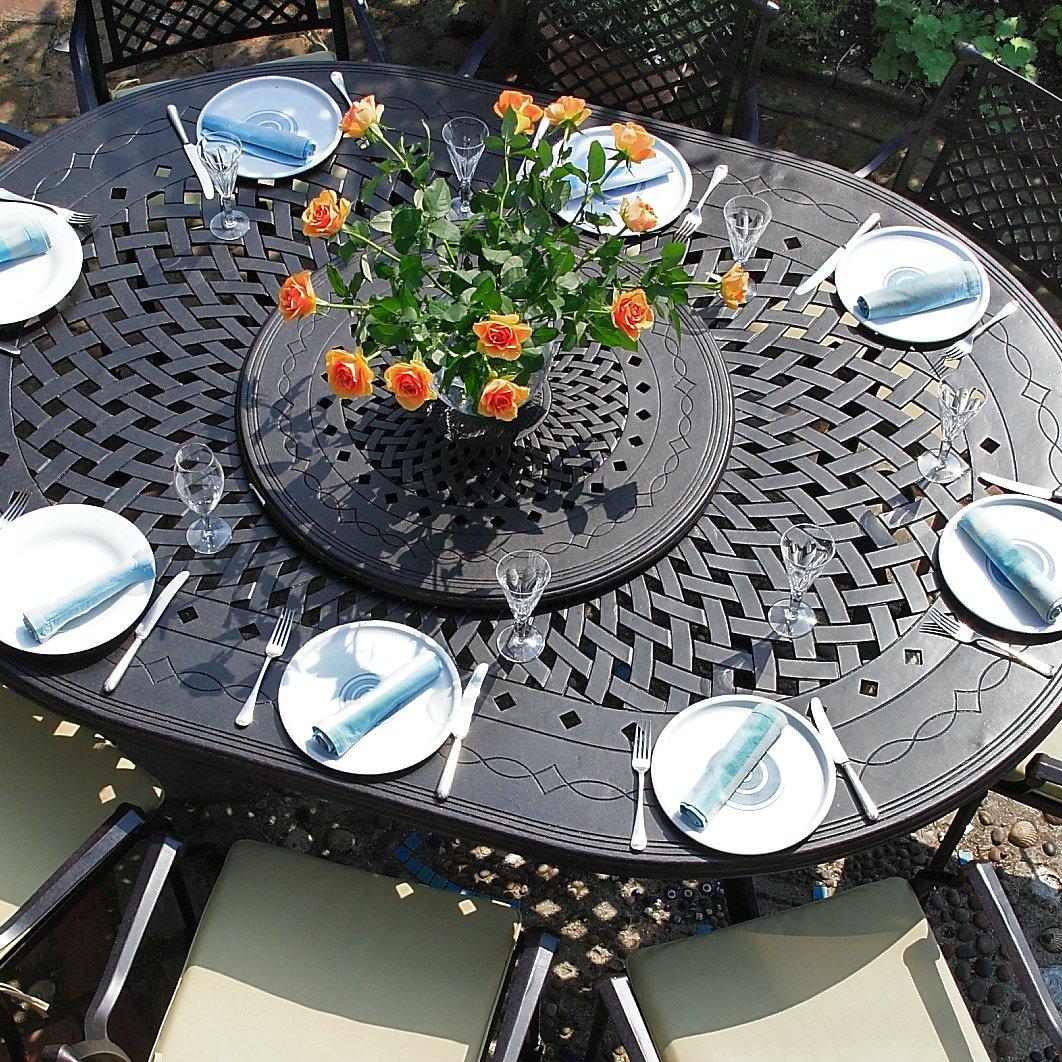 Gloria 210 x 150cm Ovales Gartenmöbelset Alu - 1 GLORIA Tisch + 8 ROSE Stühle