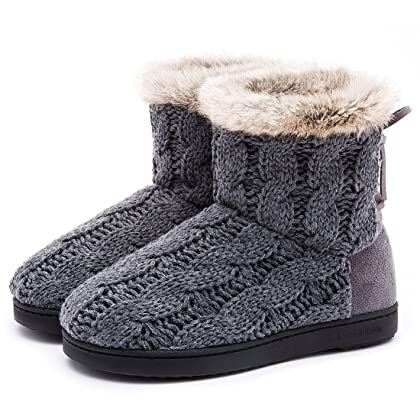 4bd9ca74d ... ULTRAIDEAS Women's Soft Yarn Cable Knit Bootie Slippers Memory Foam  Indoor & Outdoor Shoes w/ ...