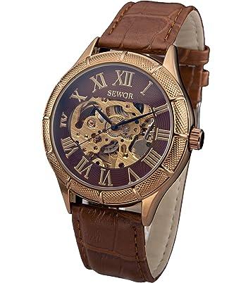 SEWOR azul Hollow Skeleton transparente Mecánica Reloj de pulsera con cuero negro (Rosa dorado): Amazon.es: Relojes