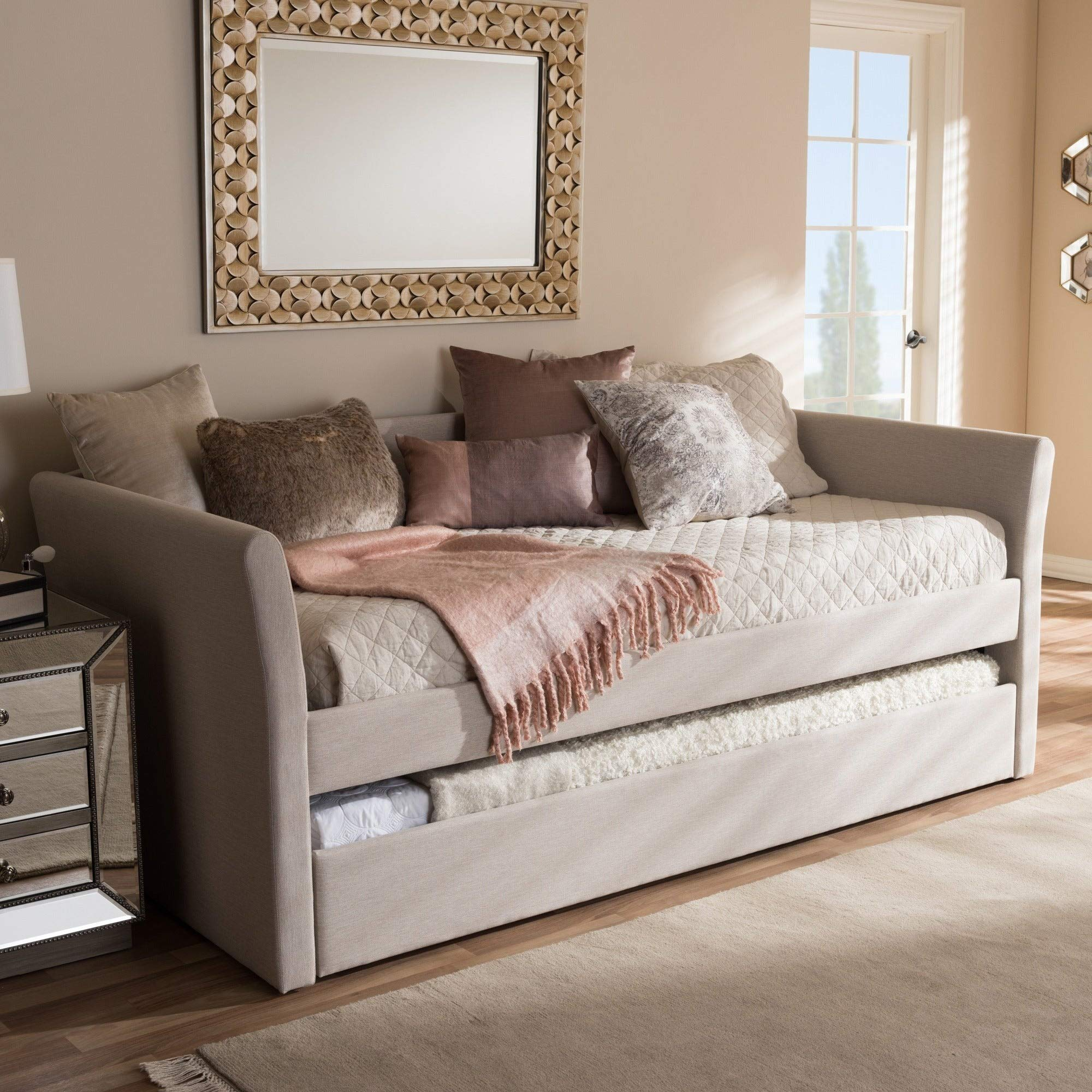 Baxton Studio Kassandra Modern and Contemporary Daybed with Guest Trundle Bed Beige by Baxton Studio