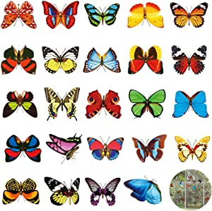 48 Pieces Large Colorful Butterfly Window Clings Anti-Collision Window Clings Decals to Prevent Bird Strikes on Window Glass Non Adhesive Butterfly Stickers Decor, 12 Sheet