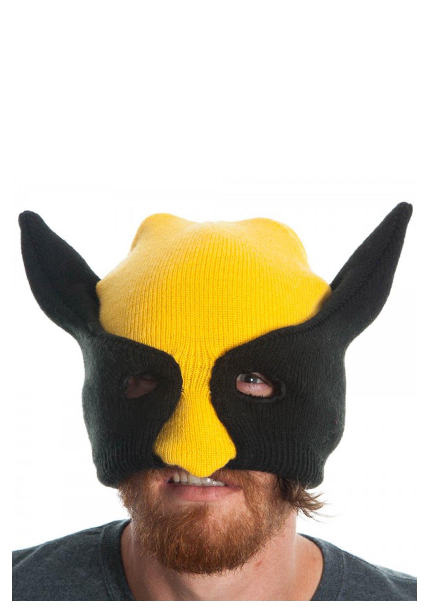 Marvel Wolverine Yellow Half Mask Beanie Hat