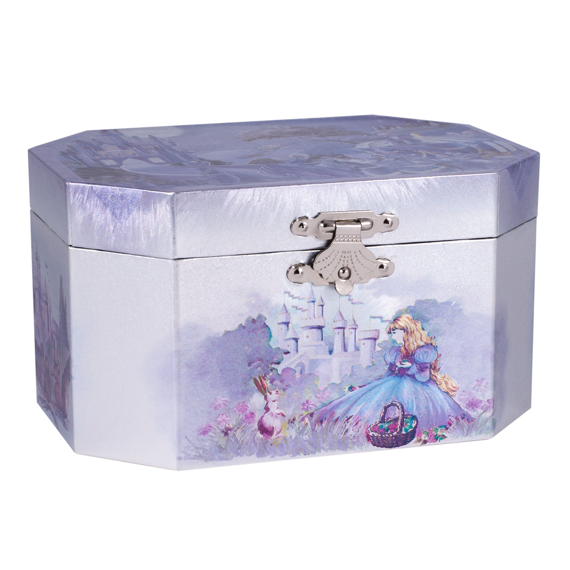 Broadway Gifts Castle Musical Music Jewelry Box with Dancing Spinning Ballerina Plays Swan Lake Tune,purple, silver,5.75x3.75x 5