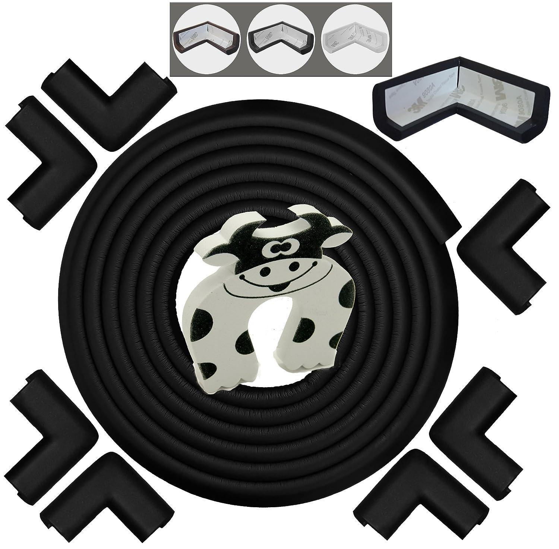 Baby Proofing Edge & Corner Guards: 10 Piece Furniture Safety Set, Black Bébé Earth