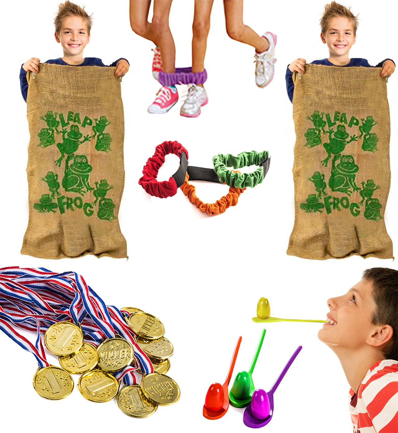 Tigerdoe Carnival Games - Relay Races - Party Games - Birthday Games - Outdoor Activities by (Potatoe Sacks, Race Bands, Egg & Spoon Game, Metal Necklaces) by Tigerdoe