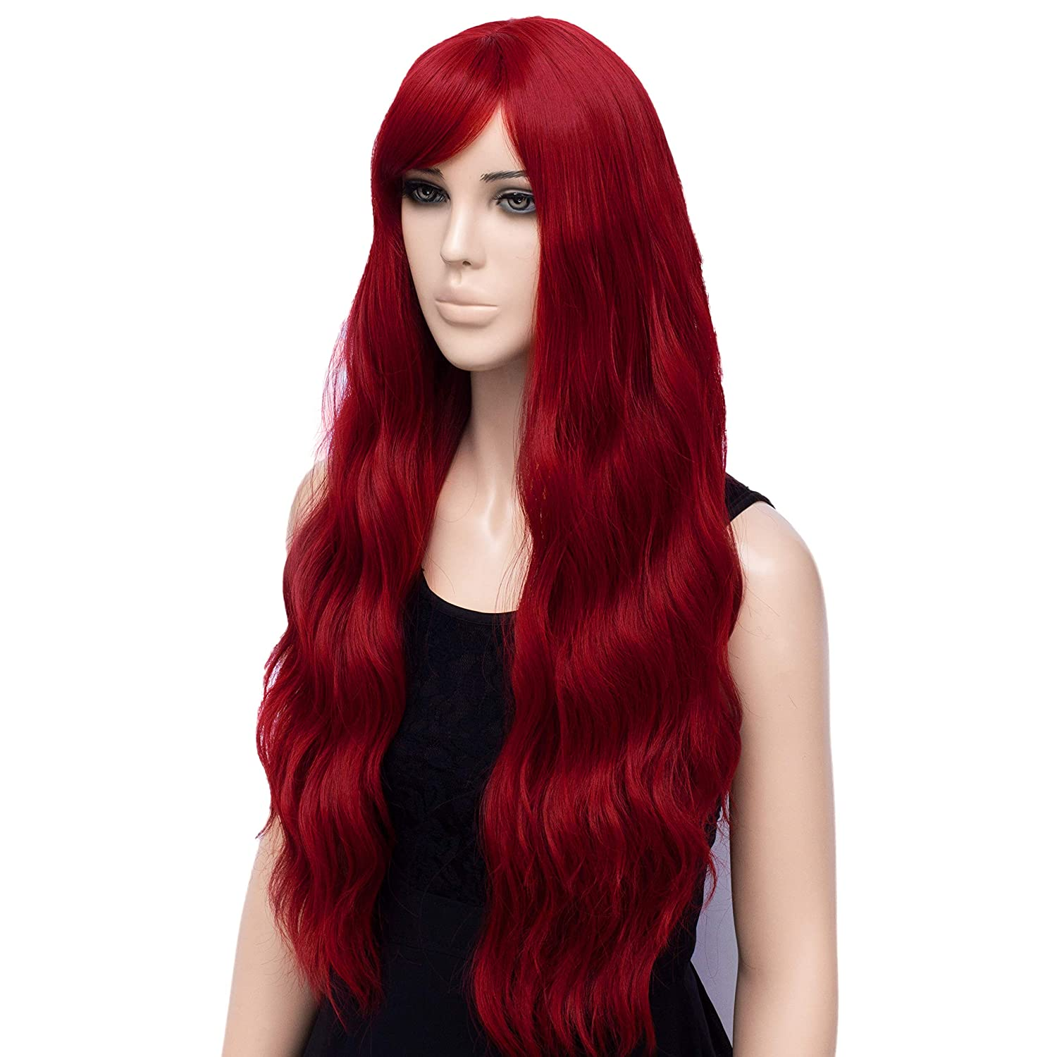 Women's Red Cosplay Wig, Long Wavy Heat Resistant Fiber Wigs (Red)