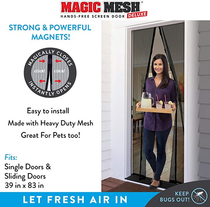 Magic Mesh Deluxe Black Hands Free Magnetic Screen Door Mesh Curtain Keeps Bugs Out Frame Hook Loop Hands Free Pet Kid Friendly Fits Doors Up To 39 X 83 Inches