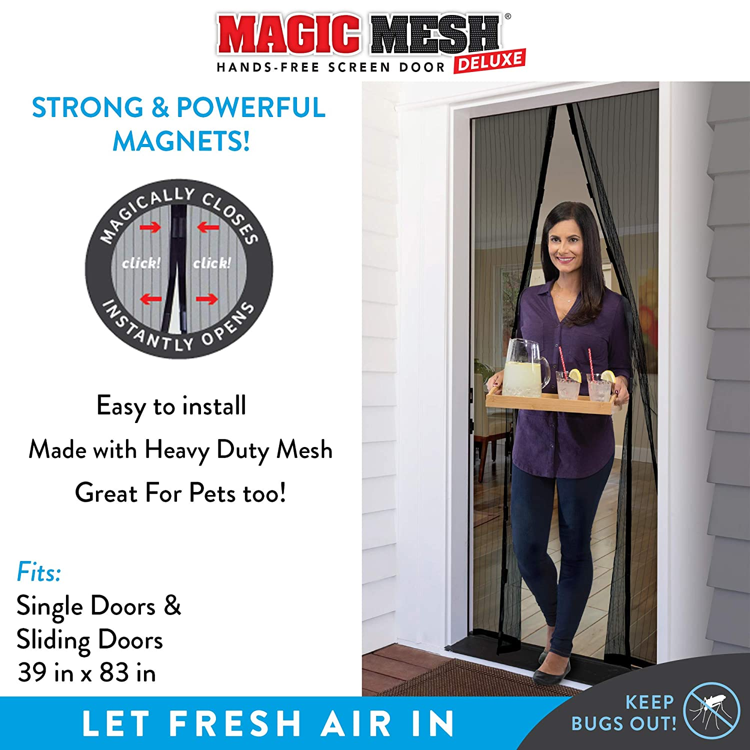 """Black Magic Mesh New and Improved Hands Free Magnetic Screen Fits Doors Up to Up to 83/"""" x 39/"""""""