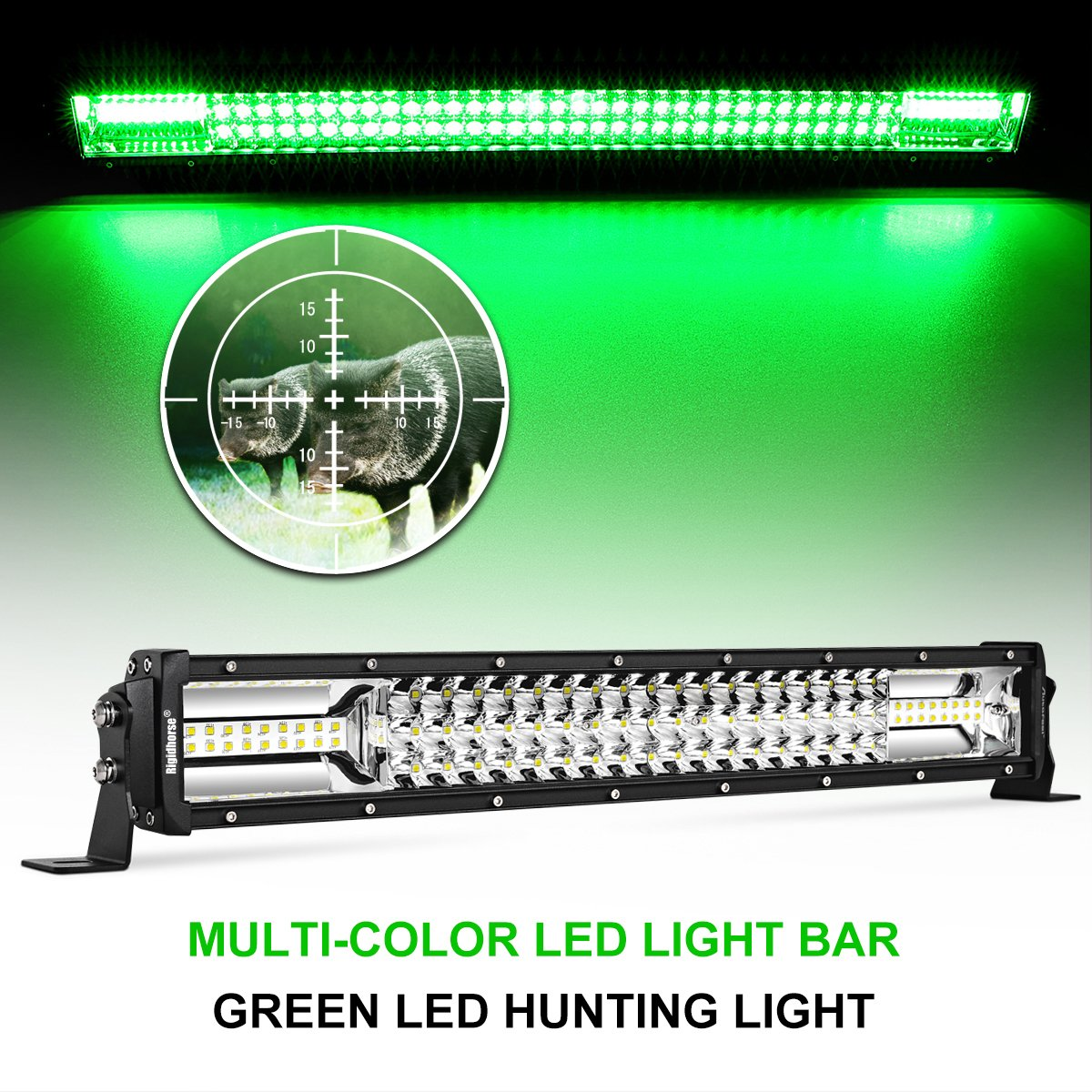 Led Light Bar Rigidhorse 22 180w Dual Color Tri Circuit New Driver Combo Whitegreen Lights Beam Driving For Off Road Suv Atv Jeep Truck