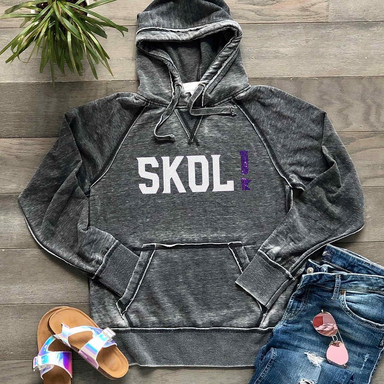 SKOL! Vikings Hoodie Unisex Men's Women's Minnesota Football Soft Lightweight Burnout Hooded Sweatshirt, Dark Grey