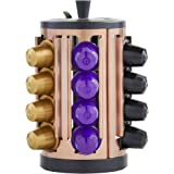 VonShef 24 Capsule Nespresso Coffee Pod Rotating Holder with Built-In Sugar Bowl & Spoon - Copper