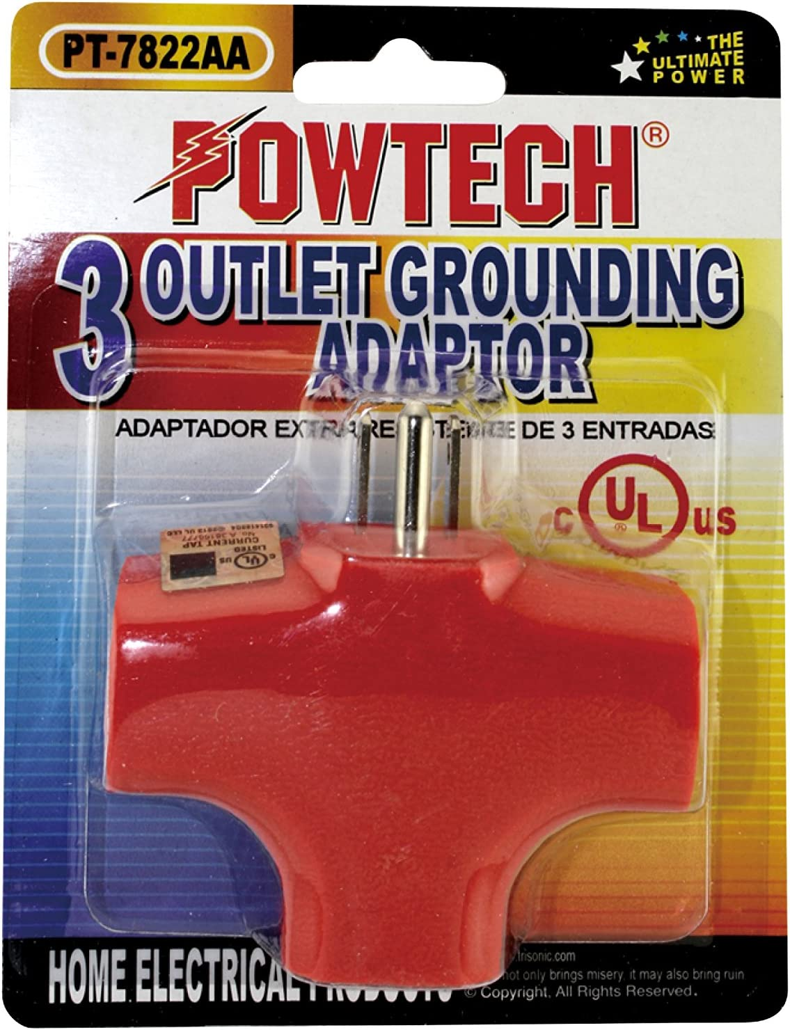 POWTECH 3 Outlet Extender Wall Adapter Orange Trisonic Workshops and Appliances -Heavy Duty Grounded Triangle Tap UL Listed T-shaped Adapter for Household