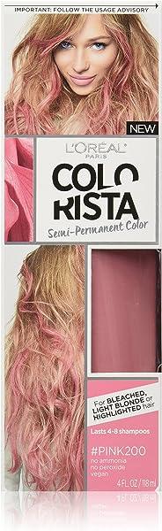 L'Oreal Paris Hair Color Colorista Semi-Permanent Hair Color for Light Blonde/Bleached Hair, Rosado