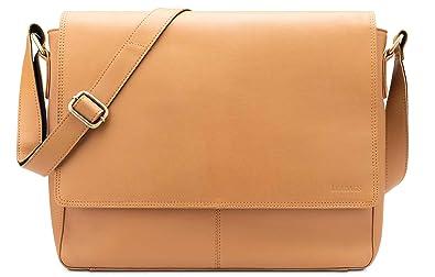 b0dc80f6d661 LEABAGS Oxford - Messenger Bag Briefcase Laptop Bag 13 Inch Genuine Leather  - DesertBrown
