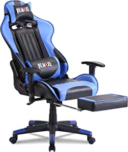 Gaming Chair with Footrest,Computer Gaming Chair High-Back Racing Chair,PU Leather Executive Office Chair with Headrest & Massage Lumbar Pillow,Blue