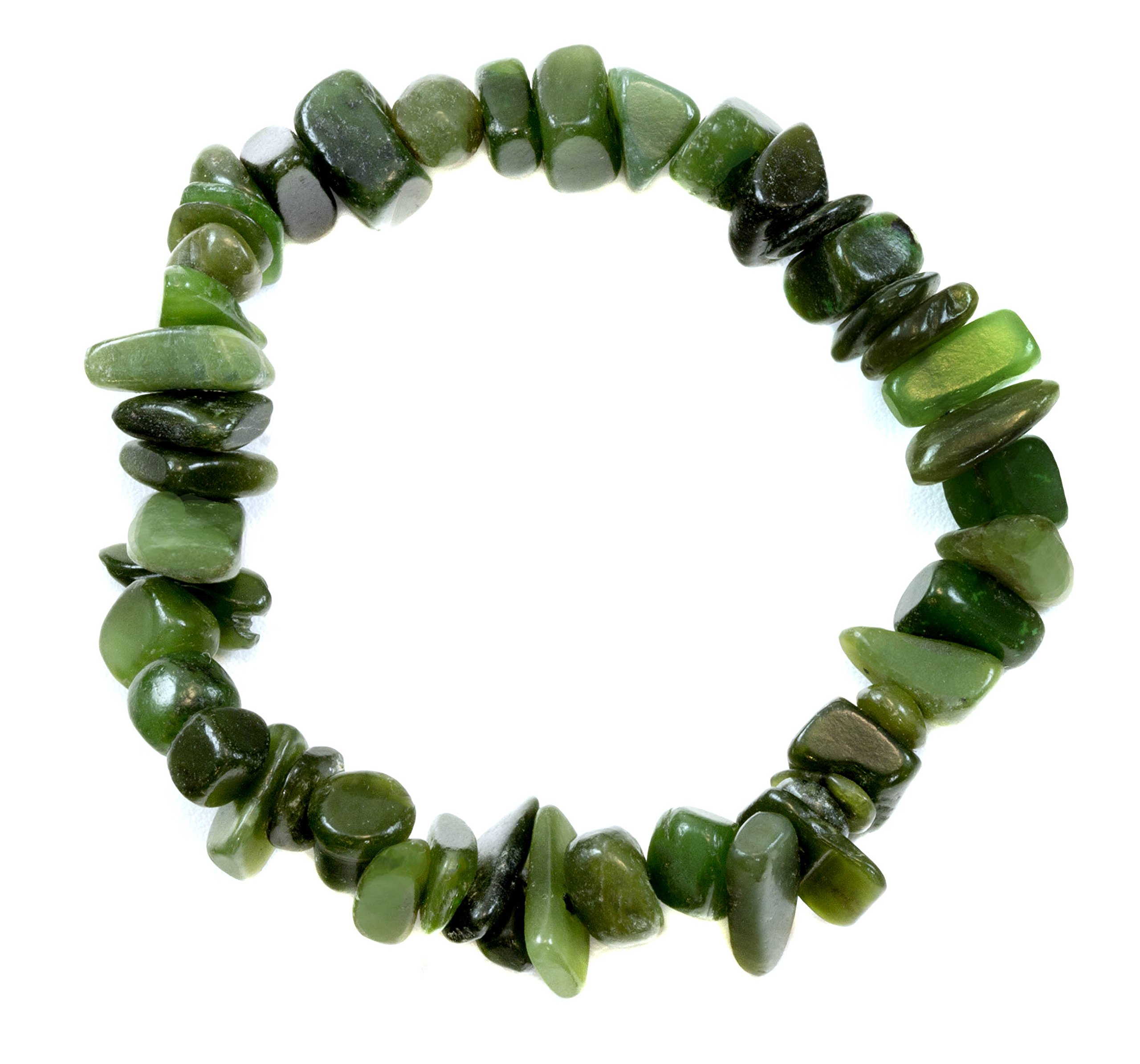 Jade Bracelet Green Nephrite Polished Nugget Style Stones Stretch Style Adjustable 7'' by Spyglass Designs (Image #1)