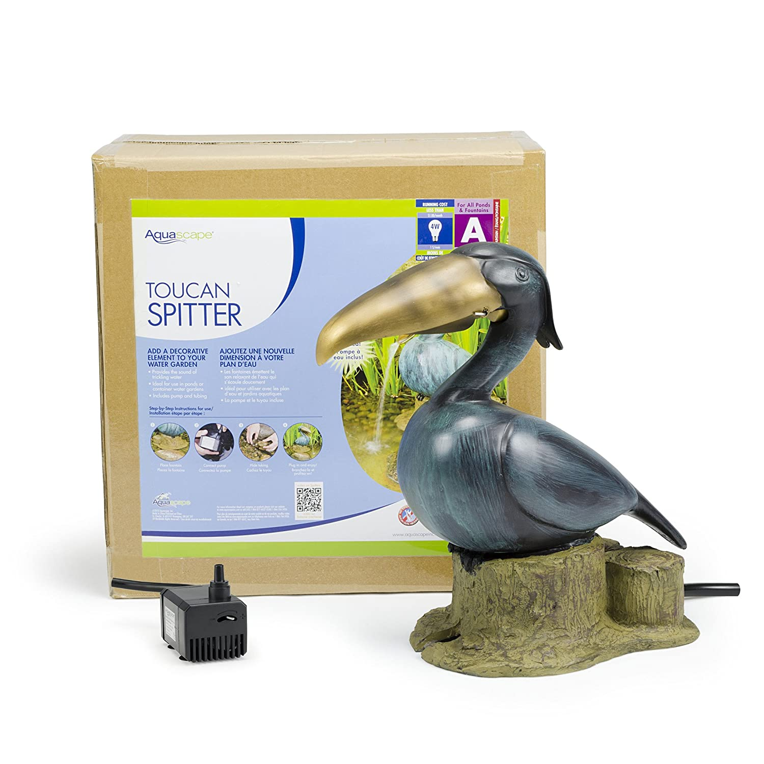Aquascape Toucan Fountain Spitter for Pond Bird Garden 78011 Landscape and Water Features
