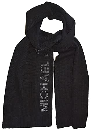 b893f4f21 Michael Kors Black Knitted Scarf with Silver Studded Logo One Size
