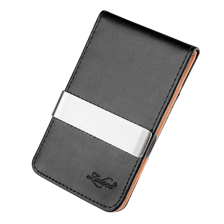 Black//Orange Zodaca Horizontal Genuine Leather Money Clip Wallet