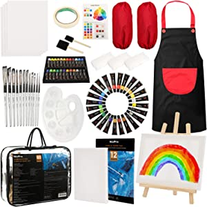 Nicpro 60 PCS Kid Art Set, 24 Colors Acrylic Paint,Complete Painting Supplies Kit for Boy & Girls Gift with Canvas, Smock, Painting Pad, Mixing Knives, Easel, Sponge, Mixing Tray
