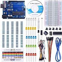 UNIROI pour Arduino-Compatible Carte UNOR3 Kit De Démarrage Basique avec Guide d'utilisation Français Kit d'apprentissage de Base Projet (147 PCS)