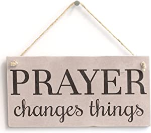 "Meijiafei 'Prayer Changes Things' - Spiritual Religious Decor Sign - PVC Door Sign/Plaque 10""x5"""