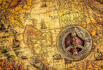 8x6.5ft Retro Nautical Map Marine Compass Polyester Photography Background Child Adult Artistic Portrait Wedding Shoot Backdrop Nostalgia Style Wallpaper Studio Props