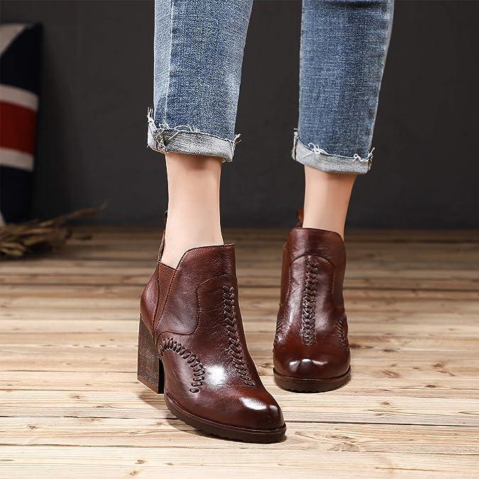 Botines de tacón Alto y Bloque de Mujer Zapatos de Cuero ...