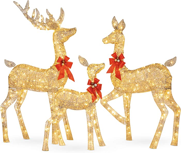 Best Choice Products 3-Piece Lighted Christmas Deer Family Set Outdoor Yard Decoration with 360 LED Lights, Stakes, Zip Ties
