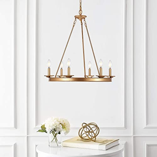 Safavieh CHA4015B Joris Gold 6-Light Candle LED Bulbs Included Chandelier