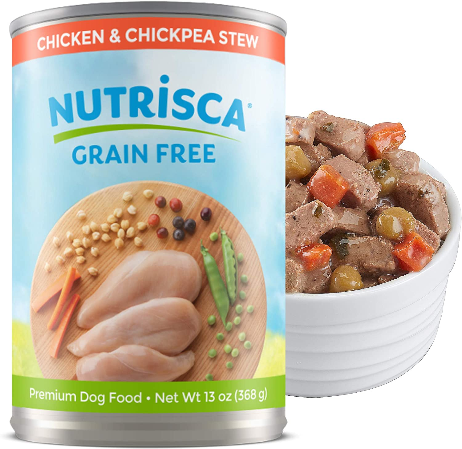 Dogswell NUTRISCA Premium Grain Free Canned Wet Dog Food, 13 oz. Cans 12 Count